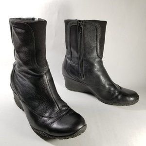 Merrell Black Leather 'Wisteria' Wedge Boots